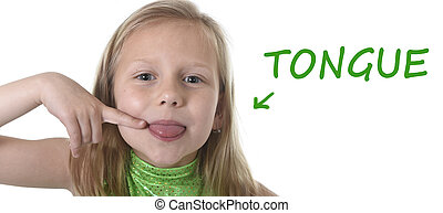 cute little girl pointing her tongue in body parts learning...