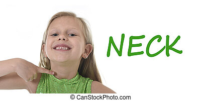 cute little girl pointing her neck in body parts learning...