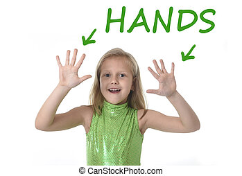 cute little girl showing hands in body parts learning...