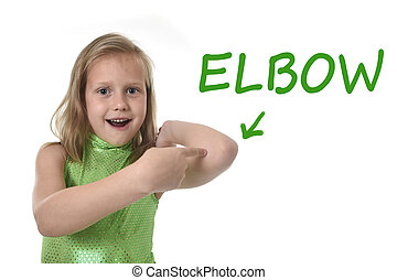 cute little girl pointing her elbow in body parts learning...