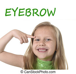 cute little girl pointing her eyebrow in body parts learning...