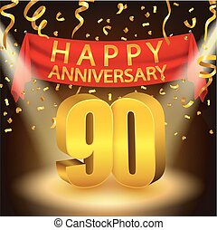 Happy 90th Anniversary celebration - Vector Illustration Of...