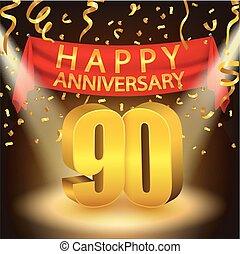 Happy 90th Anniversary celebration - Vector Illustration Of...