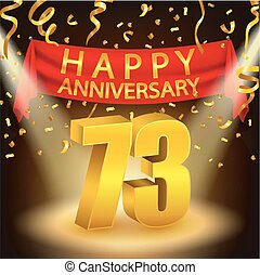 Happy 73rd Anniversary celebration - Vector Illustration Of...