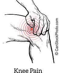 Illustration of knee pain. Hands holding leg
