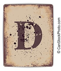 Tin Poster monogram D - Retro tin plate style poster with...