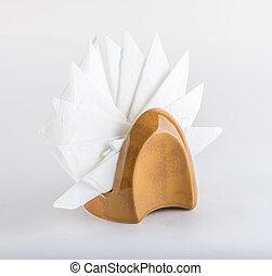 napkin holder with white napkins