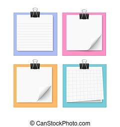 Set of four white sticky notes - Set of four with sticky...