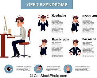 Concept of office syndrome in men - Infographics office...