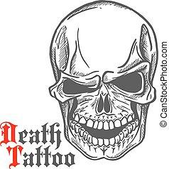 Skull sketch with spooky smile - Dark gray human skull...
