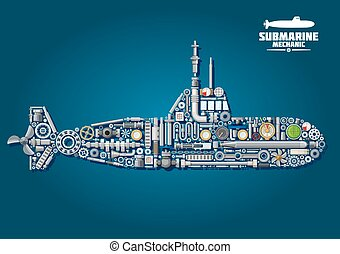Submarine from parts and weapon - Submarine mechanics scheme...