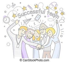 Successful Team People Design Flat - Successful team people...