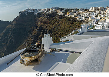 towns of Imerovigli and Firostefani - Old boat and Panoramic...