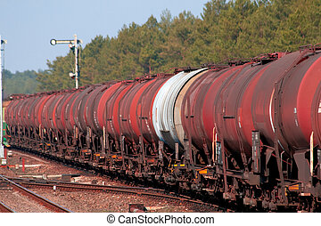 Freight fuel train - Freight train with fuel passing the...