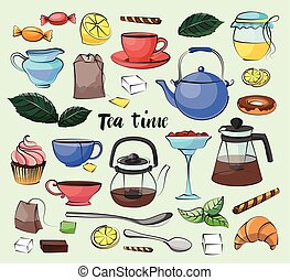 Tea Time Set. Hand drawn icons - Cups, mugs, teacups,...