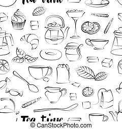 Tea Time Pattern. Hand drawn icons - Cups, mugs, teacups,...