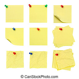 pushpin and note - Picture of isolated pushpin and note with...