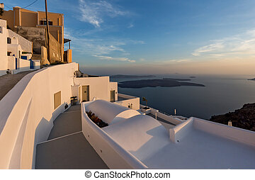 town of Imerovigli, Santorini - Panoramic view of Santorini...