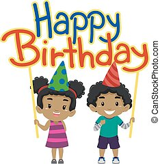 Kids holding Happy Birthday Banner - Vector Illustration of...
