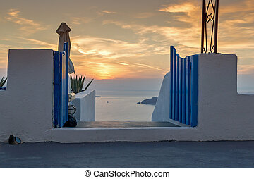 sunset view of town of Imerovigli - Sunset landscape in town...
