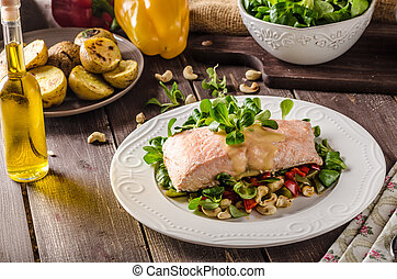 Salmon with hollandaise sauce and salad - Salmon with...