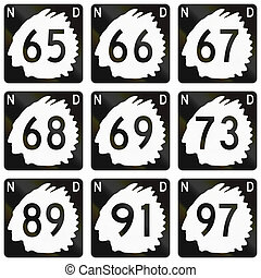 Collection of North Dakota Route shields used in the United...