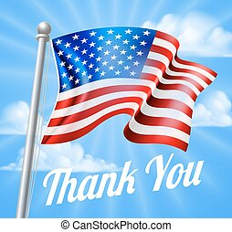 Memorial Day or Veterans Day Thank You American Flag -...