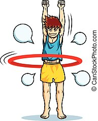 boy play hoola hoop funny cartoon vector colorful