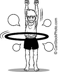 boy play hoola hoop funny cartoon vector