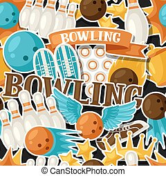 Seamless pattern with bowling items. Background made without...