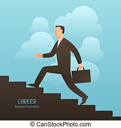Career business conceptual illustration with businessman...