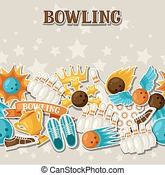Seamless pattern with bowling items Background made without...