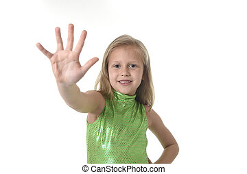cute little girl showing hand in body parts learning school chart serie