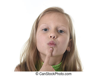 cute little girl showing her lips in body parts learning...