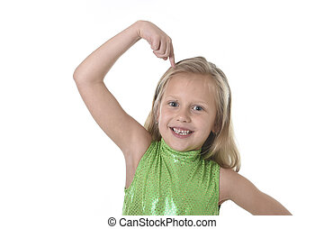 cute little girl pointing her head in body parts learning...