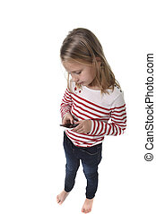 beautiful female child with blond hair and blue eyes using mobile phone playing game