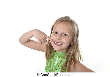 cute little girl pointing her mouth in body parts learning...