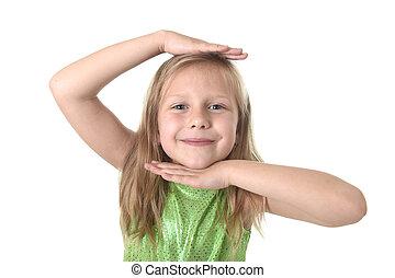 cute little girl showing head in body parts learning school chart serie