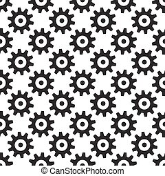 Black gears seamless pattern isolated on white. Wheels or...