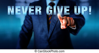 Management Coach Pushing NEVER GIVE UP - Male management...