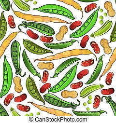 Green peas, peanuts and beans pattern
