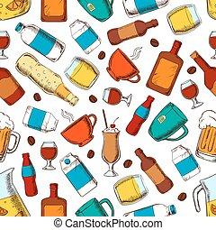 Alcohol and nonalcoholic drinks pattern - Beverages seamless...