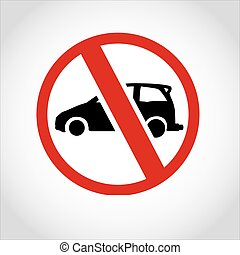car No passing through sign logo vector