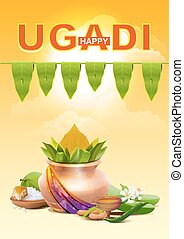 Happy Ugadi Template greeting card for holiday Ugadi Gold...