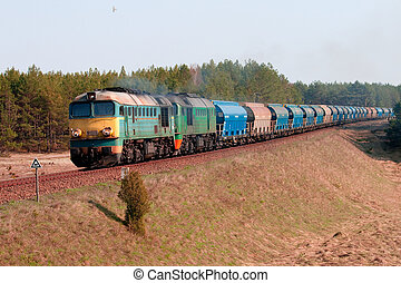 Freight diesel train - Freight train hauled by two diesel...