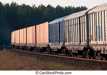 Freight diesel train - Freight train passing the forest