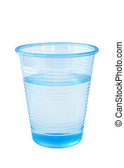 Cool clear water - Pale blue plastic cup of water. Isolated...