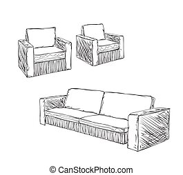 Doodle Armchair set for interior design