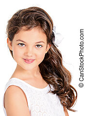 eight year old girl - Close-up portrait of a pretty...