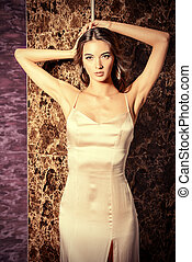 satin dress - Beautiful young woman in elegant evening...